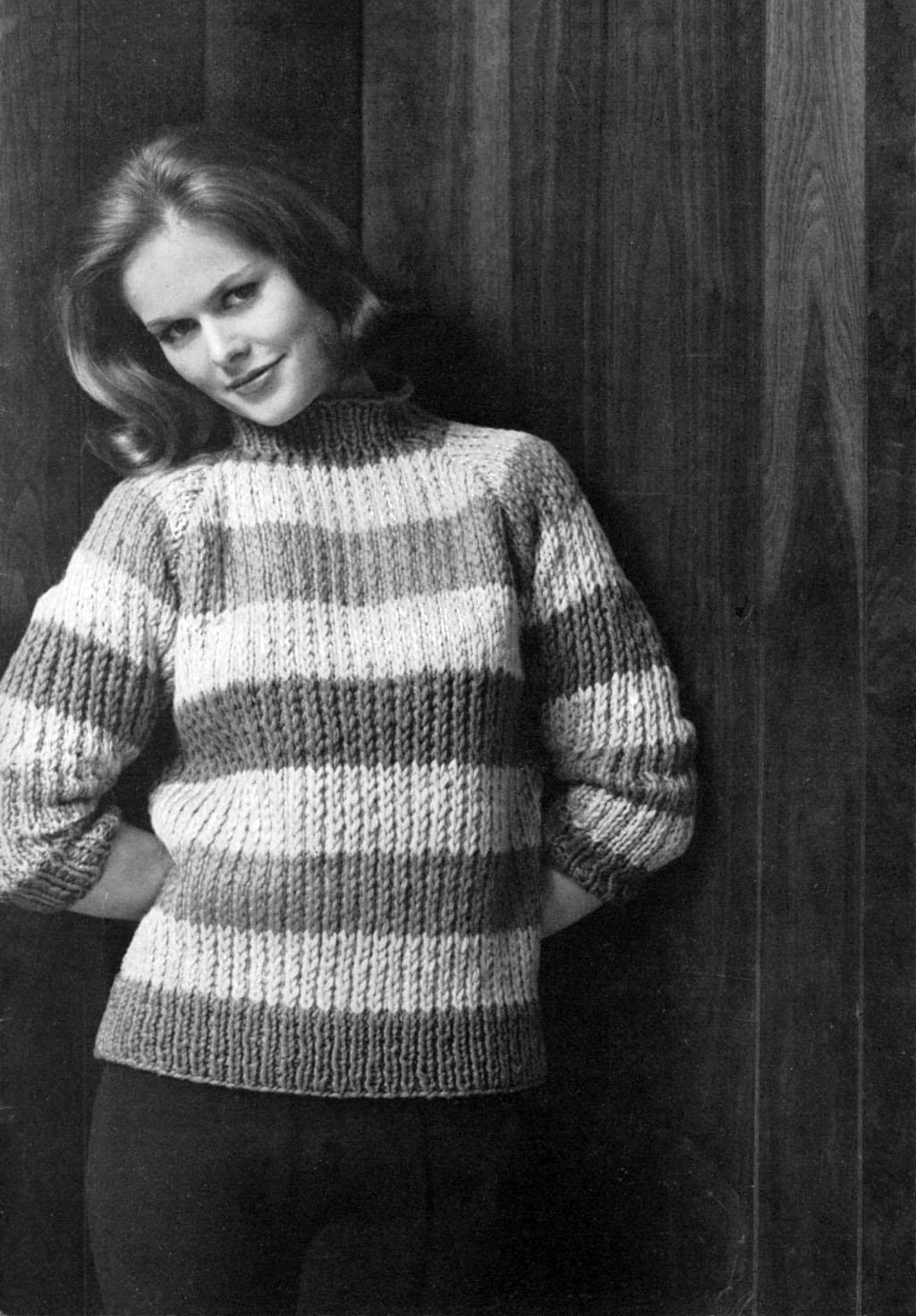Classic Cardigan Knitting Pattern : Musings from Marilyn   Rah Rah Stripes! Vintage 60s Sweater Knitting Pattern