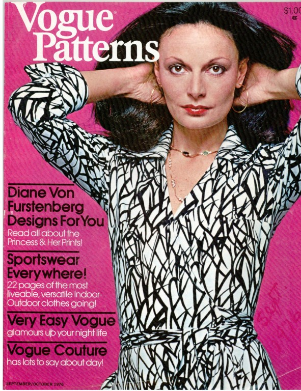Diane von Furstenberg on the cover of Vogue Patterns, September/October 1976