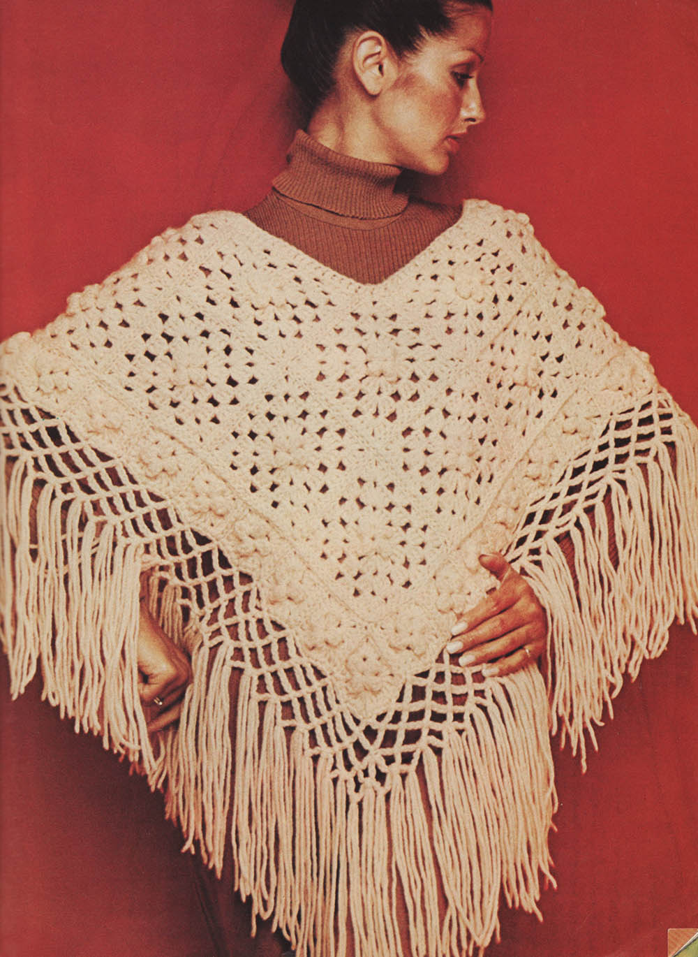 Crocheting Ponchos : ... from Marilyn ? Crochet a Vintage 1973 Granny Square Fringed Poncho