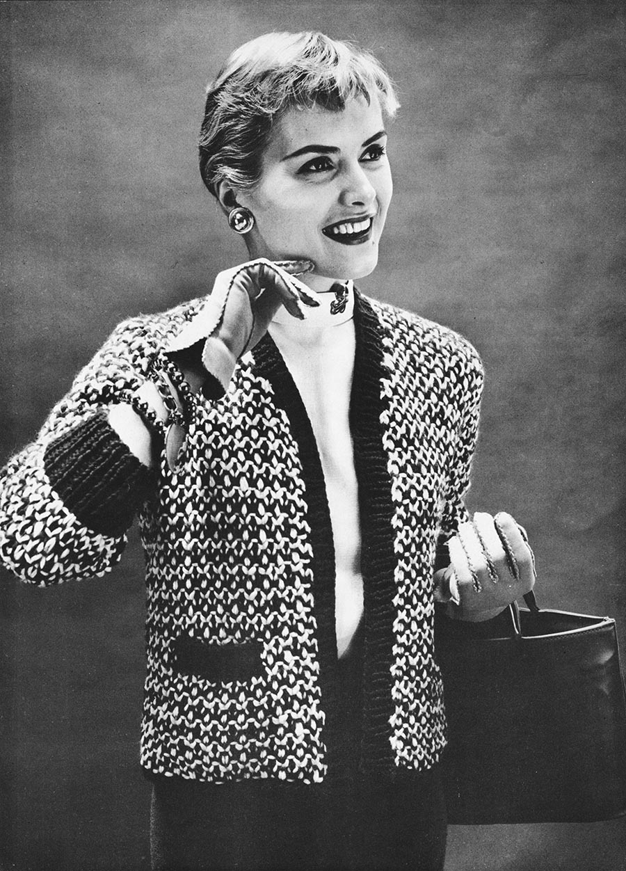 musings from marilyn vintage 50s tweedy chanel esque sweater jacket knitting pattern. Black Bedroom Furniture Sets. Home Design Ideas