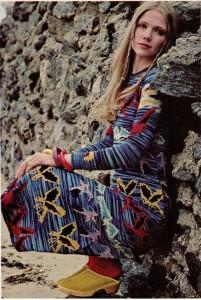 Betsey Johnson -Alley Cat flock of birds dress, vintage 1971