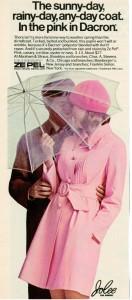 Pink raincoat - vintage 1969