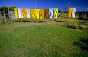 Towels on clothesline