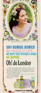 Yardley Oh! de London ad 1968 Olivia Hussey Juliet