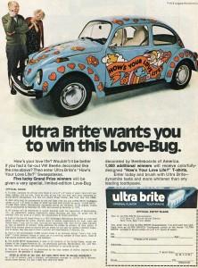 Vintage 1975 Ultra Brite Love-Bug VW Beetle ad