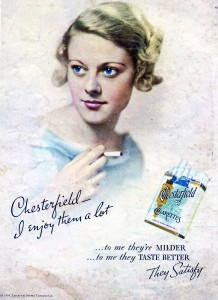 Vintage 1934 Chesterfield cigarettes ad Woman smoking