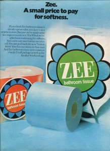 Finnfemme: Remember Colored Toilet Paper? | Zee Bathroom Tissue ad 1972