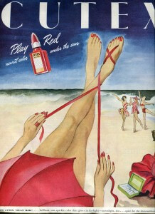"""Finnfemme: Cutex """"Play Red"""" Nail Polish - Summer 1946"""