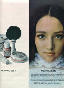 FINNFEMME: Olivia Hussey and Next to Nothing Makeup by Yardley, 1969 ad