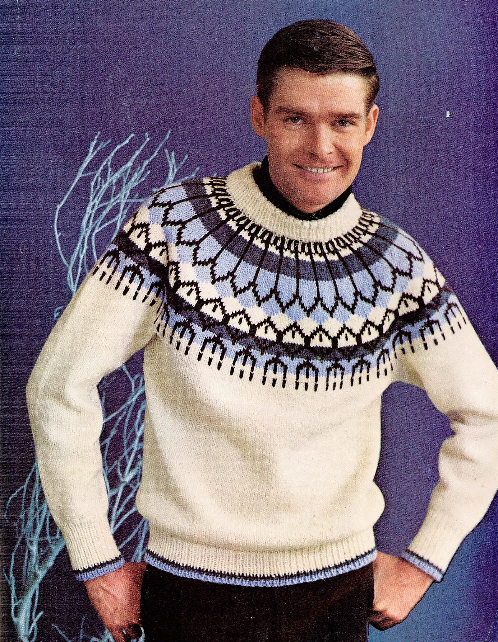c3dd15472 This is a classic knitting pattern from 1967 for a men s yoke-design  pullover in knitting worsted. Body is knit on a circular needle